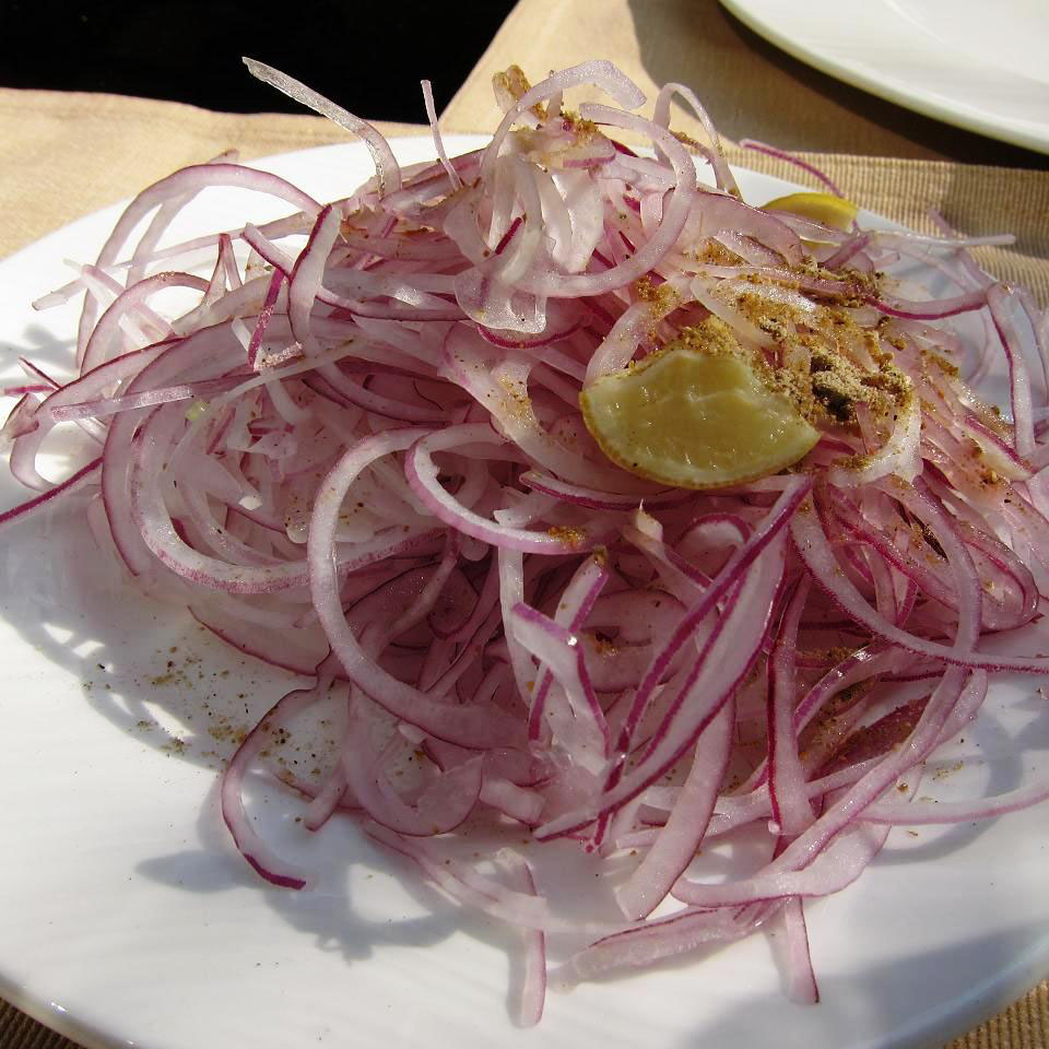 sliced lacha onion salad, indian oven
